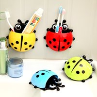Wholesale 14 cm creative home daily cute ladybug powerful suction toothbrush base plastic toothbrush holder