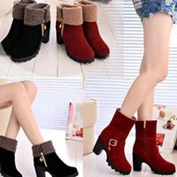Wholesale Hot Side Zipper Chunky Heels Women s Boots Two wearing Fashion Skid Resistance Snow Boots Size