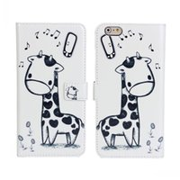 apple giraffe - lphone6 S plue Cartoon giraffe cellphone cases business plain wallet style Japanese and south Korean style apple plus inches phone ca