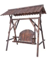 Wholesale Outdoor Furniture Covered Leisure Wooden Patio Swing