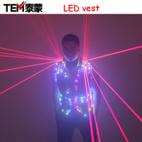 Wholesale Fashion Red Laser Waistcoat Laserman LED Vest Suits Clothes Stage Costumes For Singer Dancer For Nightclub Performers