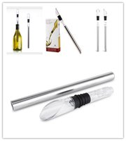 Wholesale Free DHL New Fashion Wine chiller stick Stainless Steel Wine Cooling Stick Wine Cooling Rod with Wine Pourer with Retail Package