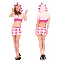 animal fur costume - Sexy Halloween Animal Cosplay Costumes pink dinosaur baby costume party dresses Leather Fur Dinosaur Role Play Masquerade Clothes sexy linge