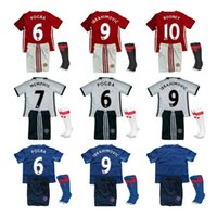 Wholesale 16 IBRAHIMOVIC POGBA kids boys kits socks best gift United Soccer Jerseys HOME RED SCHWEINSTEIGER ROONEY child Football shirts