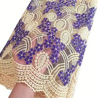 Wholesale African Lace Hot Sell Mesh New Arrival Cream Purple Color African Cord Lace Guipure Lace Fabrics High Quality Multicolor
