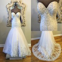 Cheap Custom Made Mermaid Plus Size Wedding Dresses Sweetheart Beading Lace Appliques Real Photos 2016 Cheap Garden Western Country Bridal Gowns