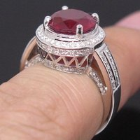 Wholesale Good Design Solid K White Gold Natural Diamond Blood Ruby Engagement Ring