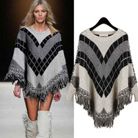 batwing sweater knitting pattern - 2016 Fashion Autumn Winter Casual Sweater Women Color Long Sleeve O Neck Poncho Geometric Diamond Pattern Tassel Pullover Cloak Outerwear