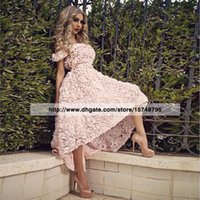 allure party dress - Egg pink Bateau Neck High low New Prom Dresses Tulle Flowers Off the shoulder Sexy Girls Dress Allure Party Dresses Robe De Soriee