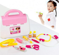 Wholesale 10pcs Baby Kids Learning Toys Doctor Nurses Medical Junior Set Carry Case Role Playing Toys Dress Up Kit Toy