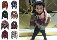 baby pashmina - DHL Kids Plaid Blanket Scarf Tartan Christmas Tassels Scarf Fashion Warm Neckerchief Children s Scarves Baby Fleese Scarf Shawl CM