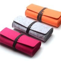 Wholesale Fashion Wool Felt Soft Sunglasses Cases Bag Glasses Protective Roll Up Boxes Wallet Multi Color for Women Men