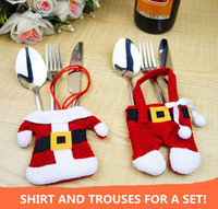 beautiful dining table - Christmas knife and fork beautiful small bag Christmas table decorations Shirt and trousers dining table set