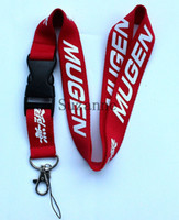 Wholesale ONE PC Red Black MUGEN KEY Lanyard CAR LOGO neck Straps ID badge holders