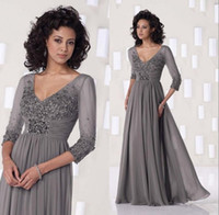 Wholesale Grey Chiffon Long Mother Of The Bride Long Sleeve Dresses Sexy V Neck Custom Made Empire Evening Gowns Women Vestido Longo De Renda