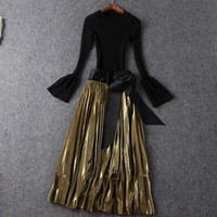 Wholesale Europe and the United States women s new autumn Show thin sweater bowknot posed a bust pleated skirt outfit