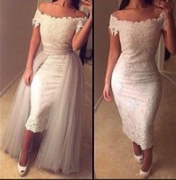 ankle length cocktail dresses - 2017 New Off Shoulder Sheath Cocktail Dresses Lace Appliques Ankle Length Prom Dresses Arabic Evening Dresses with Detachable Overskirts