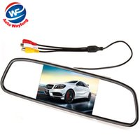 Wholesale quot Digital Color TFT LCD Car Monitor Rearview Mirror Security Monitor for Camera DVD VCR PAL NTSC DC12V Video Input Port