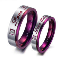 Wholesale JEWELRY High Quality Purple couple Titanium Steel rings Wedding bands inlaid crystal promise jewelry