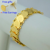 Wholesale 20CM Islam coin bracelet women K gold plated filled hand chain bangle muslim arab middle east jewelry africa wedding