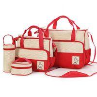 Wholesale 5 set Baby Diaper Bag Nappy Bag Mom Bag Women Tote Handbag Travel Change Bag