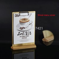 Wholesale Pack units A5 Tabletop Wood Menu Sign Display Holders for hotel cafe restaurant and retail shop