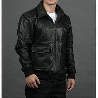 aviator bomber jacket - Fall Factory Genuine Calf Cowhide Leather Jacket Men Classical Aviator Flight Pilot Bomber Motorcycle Biker Winter Coat Jaqueta ZH055