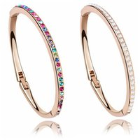 Wholesale Austrian Crystal Bracelets Bangles Brand Fashion Charm Cuff Bracelets For Women High Quality Jewelry K Rose Gold Plated