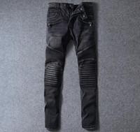 american legs - Balmain Style Jeans For Men Straight Leg Knee Drape Panel Moto Biker Jeans Skinny Slim Fashion Brand Mens Jeans