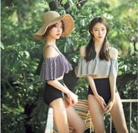 Além de roupas de banho de moda de tamanho Preços-Bikini 2016 Summer Women Beach push up Bikini Set Sexy Sling Flounced traje de banho Swimsuit Moda Set mais tamanho Split Bathing Suit
