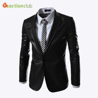 Wholesale Fall New Design Casual Mens Suit A Single breasted Leather Coat Mens High Quality Blazer Jacket Men Suit Jacket