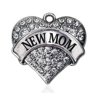 antique paving - Fashion antique silver plated NEW MOM PAVE HEART CHARM for Pendant
