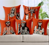 beige sofa set - 9 Styles Red Skull pillow set young linen cotton sofa pillow cushion cover pad soft outfit car windows pillow covers