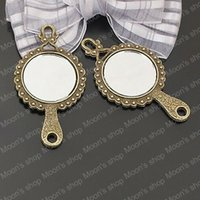 antiqued mirror - Alloy Findings charm pendants Antiqued style bronze tone Glass mirror