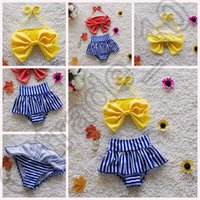 Wholesale 1000PCS MMA58 Big Bow Striped Two Piece Children Swimsuit PrettyBaby Girl Swimwear Summer Girls Kids Swimsuit Dress Bikini Baby Toddler
