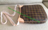 Top grado marrón lona cubierta de piel de señora bolso ODEON PM M56390 mujeres diseñador de moda bolso de hombro Messenger Oxidación