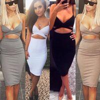 Wholesale Short Nightclub Dresses - 2016 Sleeveless Sexy Bandage Package Hip Dresses Woman Nightclub Dresses Super Stretch Slim Short Tight Dresses S M L TOP1305
