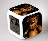 Wholesale Five Nights at Freddy s boys toys color changing clock cartoon game pattern boys action toys figure touch light Freddys bear HJIA707