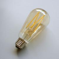LED Filament vintage Edison bombilla ST64 - Regulable largo filamento 6W Ambar 60W incandescente Equivalente E26 3 años de garantía