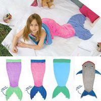 Wholesale 2016 Mermaid Tail Wrap Soft Fleece Blanket Bed snuggle in Sleeping Bag Cocoon Costume