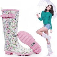 fabric korea - South korea fashion trend women mid calf rainboots quality sweet flower pattern pink rain shoes waterproof rain boots size