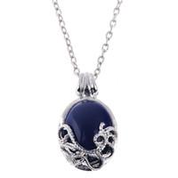 achat en gros de pendentifs vampire diaries-The Vampire Diaries Katherine Anti-lumière solaire Lapis Lazuli Collier Blue Opal Pendant Silver Chain Femme Collier 12PCS / LOT