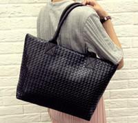 Cheap korean high capacity shopping bag PU leather single shoulder bags fashion big women woven tote ladies sac a main