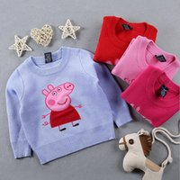 Cheap 2016 Autumn Winter New Girls Pink Pig Sweaters Kids Cartoon Peppa thick warm Cotton Coat Children Clothing Baby Pullover Knitted