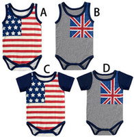Wholesale th of July flag onesie for newborn baby boy and girl stripe and stars baby body cotton Rompers