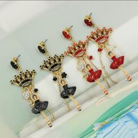 ballet store - fashion jewelry earrings black red crown jewel glass mosaic ballet girl earrings Madam jewelry welcome to sky2012 store