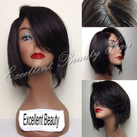 bang styles for short hair - Brazilian Short Human Hair Full Lace Bob Wigs Lace Front Wig Bob Style Wigs Side Bangs Baby Hair Density For Black Women