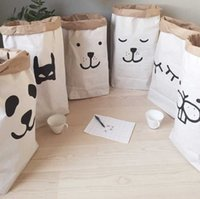 bamboo clothings - 2016 Hot popular heavy kraft paper bag children room organizer bag storage bag for toy and baby clothings