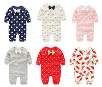 Wholesale Baby Jumpsuits Rompers Pajamas Newborn Toddler PP Pants Boys Girls Cotton Leggings Trousers Kids Long Sleeve Bowknot Clothes