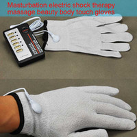 Wholesale Electric shock Gloves Adult sex toy sexual shock pulse therapy Massager Flirting gloves one pairs with controller